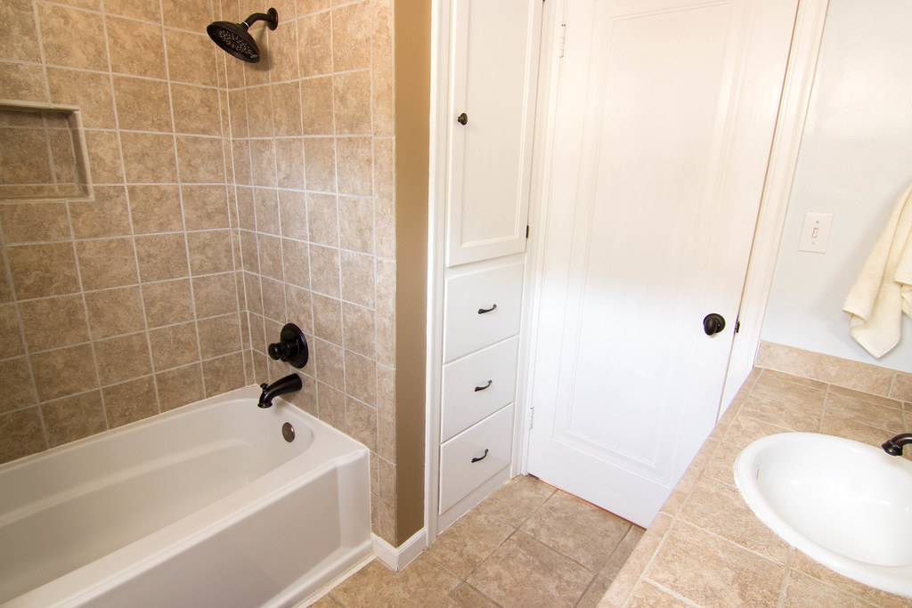 First floor bathroom view 2 large built in linen closet for Small bathroom upgrade ideas