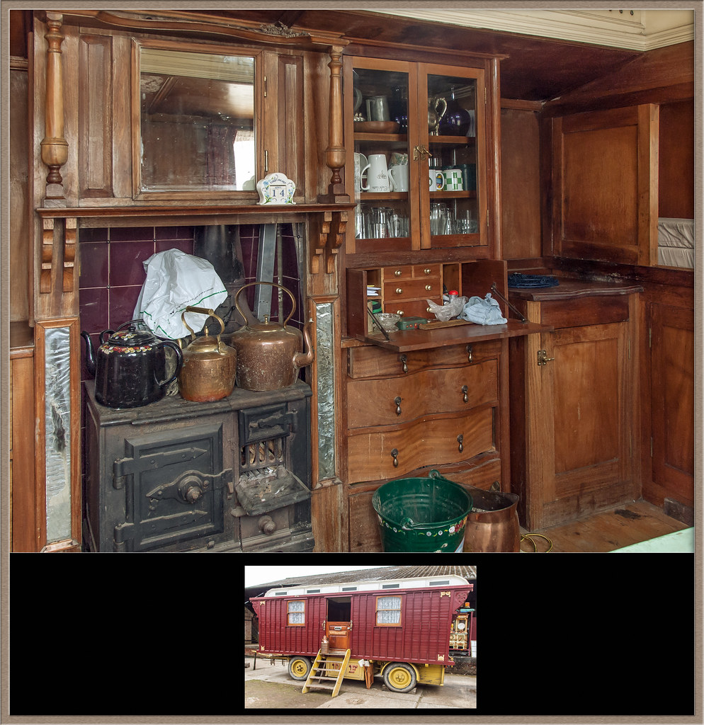 The wood panelled interior of a British showman's wagon