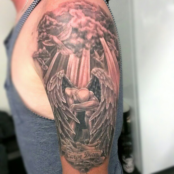 Today 39 s effort finished background and done highlights a for Angel in clouds tattoo