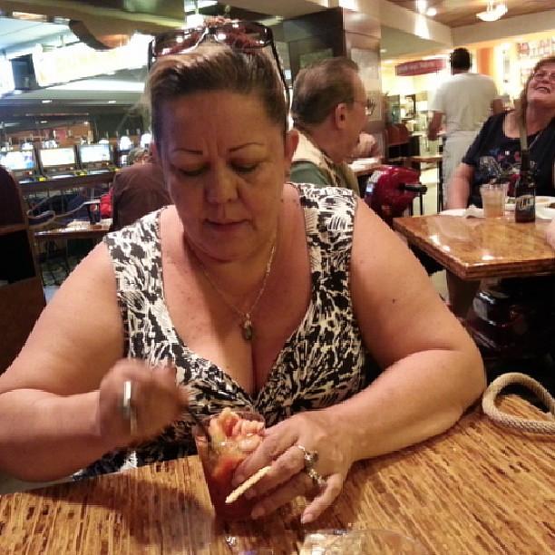 Mom Enjoying A 99 Cent Shrimp Cocktail Vegas