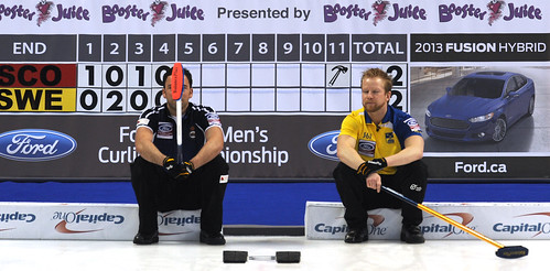 Victoria B.C.April 5,2013.Ford Men's World Curling Championship.Sweden skip Niklas Edin,Scotland skip David Murdoch.CCA/michael burns photo | by seasonofchampions