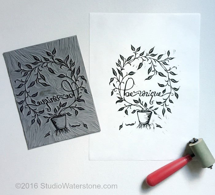 Be Unique Linocut Relief Print