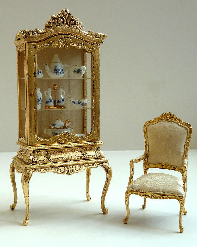 miniature doll furniture. Gold Leaf Covered Miniature Dollhouse Furniture | By Jack English Doll W