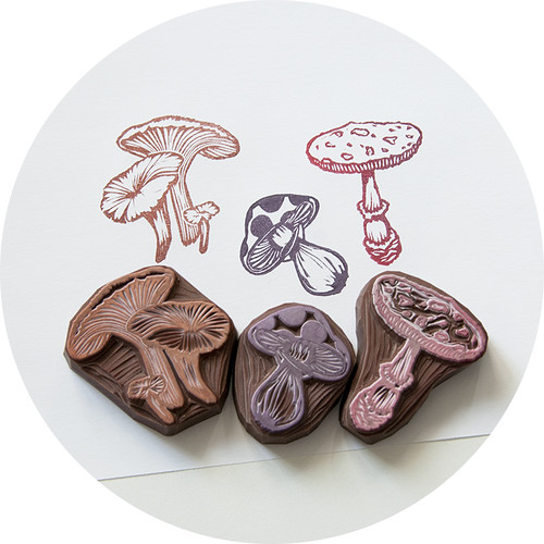 Mushroom hand carved rubber stamp set a of mushrooms