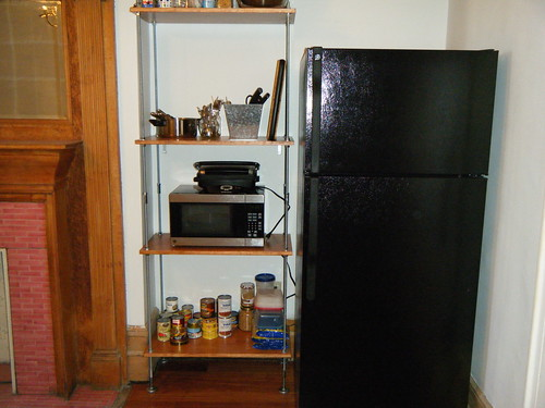 Finished shelves next to refrigerator | by Preetha & James