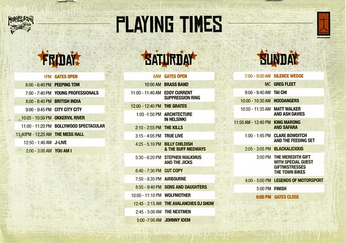 MMF2005 Playing Times | by Aunty Meredith