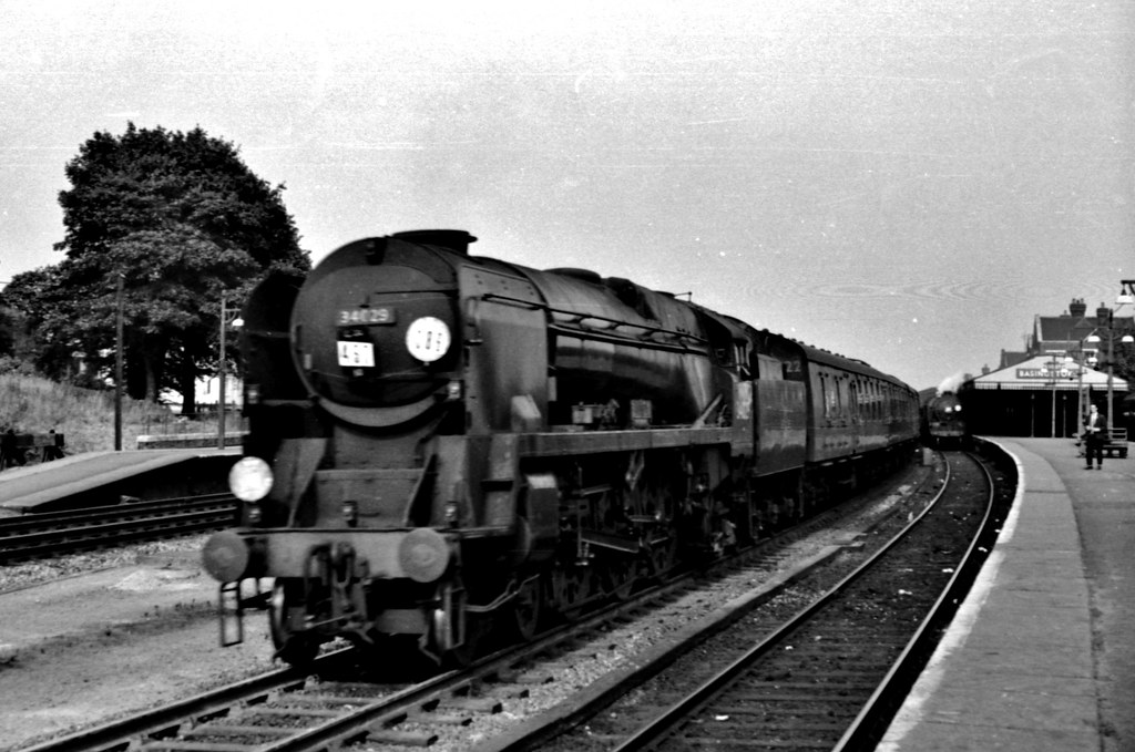 """... Railways - West Country 34029 """"Lundy"""" heads a Bournemouth-bound  passenger through Basingstoke"""