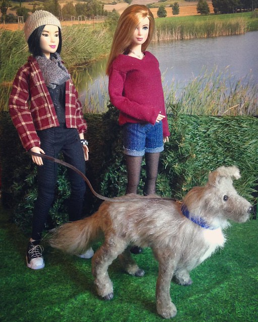 Baxter's first walk with his new family. :3 . #barbie #barbiecollector #barbiecustom #dollsofinstagram #dollstagram #instadoll #artdoll #poseableartdoll