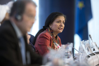 Lakshmi Puri, Acting Head of UN Women, speaks at the Conference on Women's Leadership in the Sahel. | by UN Women Gallery