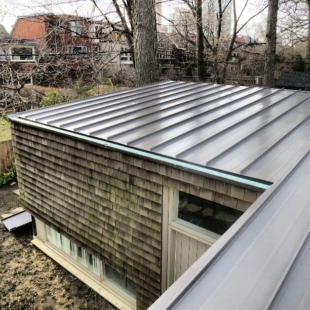 Agway metals ar 50 metal roof panels in charcoal with cust Low pitched roof