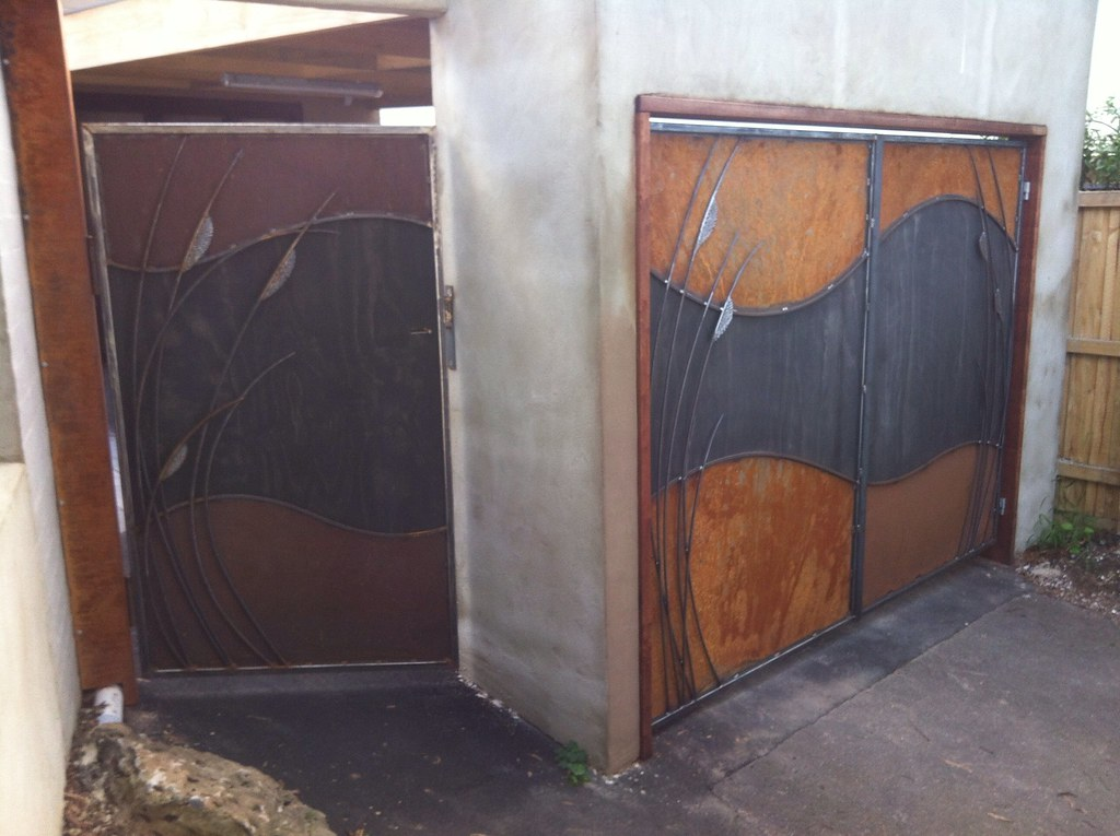 Funky Garage Doors Rusty Steel And Plywood Doors Eltham