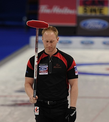 Victoria B.C.April 4,2013.Ford Men's World Curling Championship.Canada skip Brad Jacobs.CCA/michael burns photo | by seasonofchampions