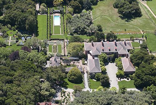 Above the Filoli estate and gardens Woodside California