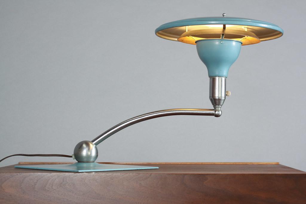 Vintage Mid Century Desk Lamp Flying Saucer Mg Wheeler