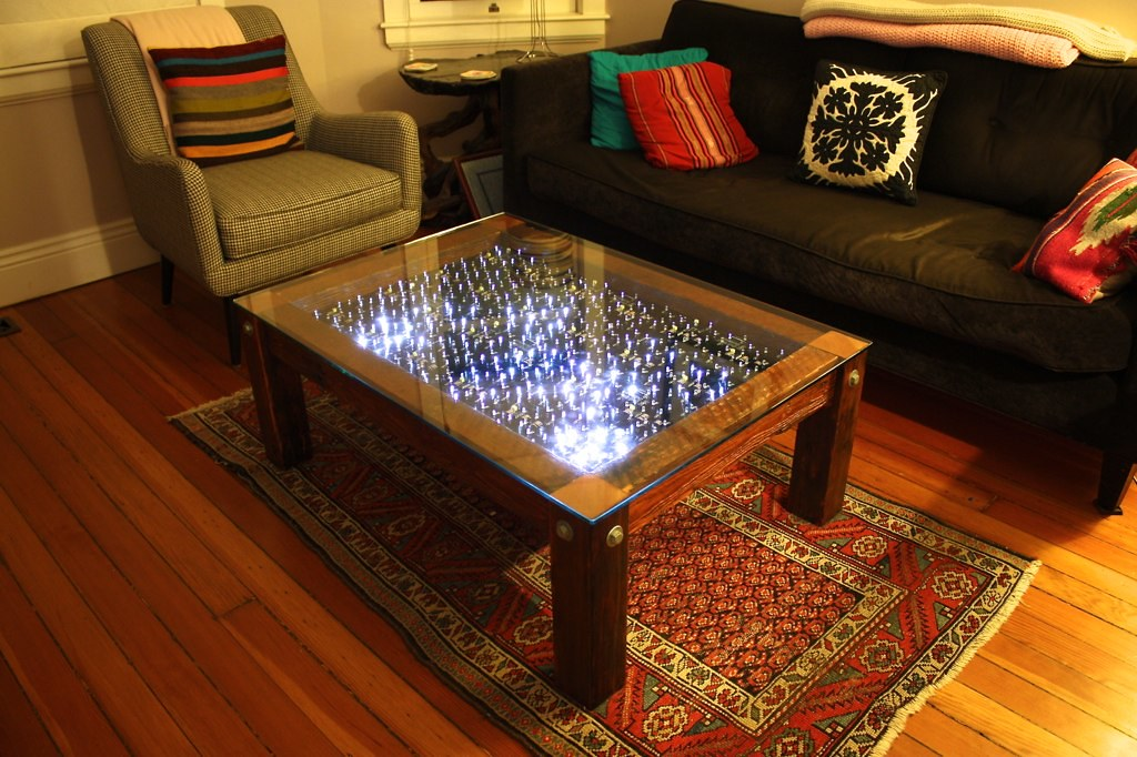 Interactive Led Coffee Table Uses Modified Evil Mad Scienc Flickr