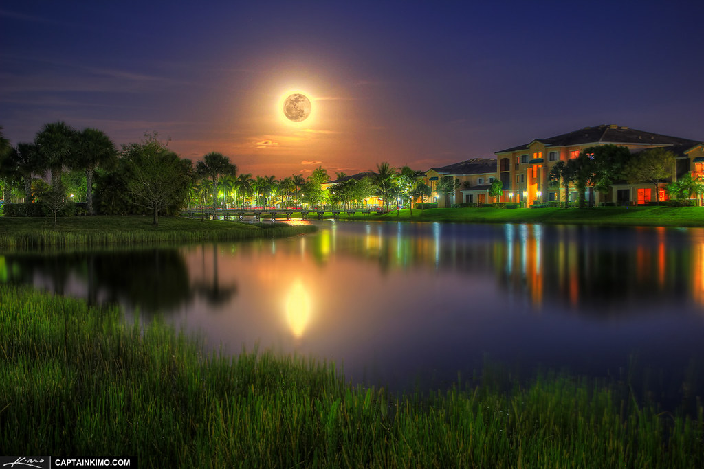 Full Moon Rise Over Neighborhood In Palm Beach Gardens