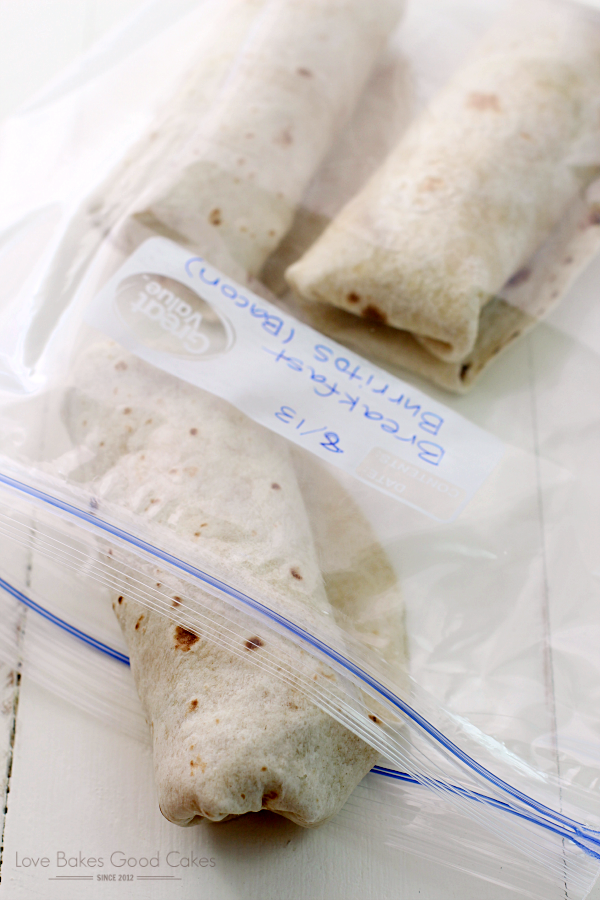 Bacon & Egg Breakfast Burritos in a zip lock bag.