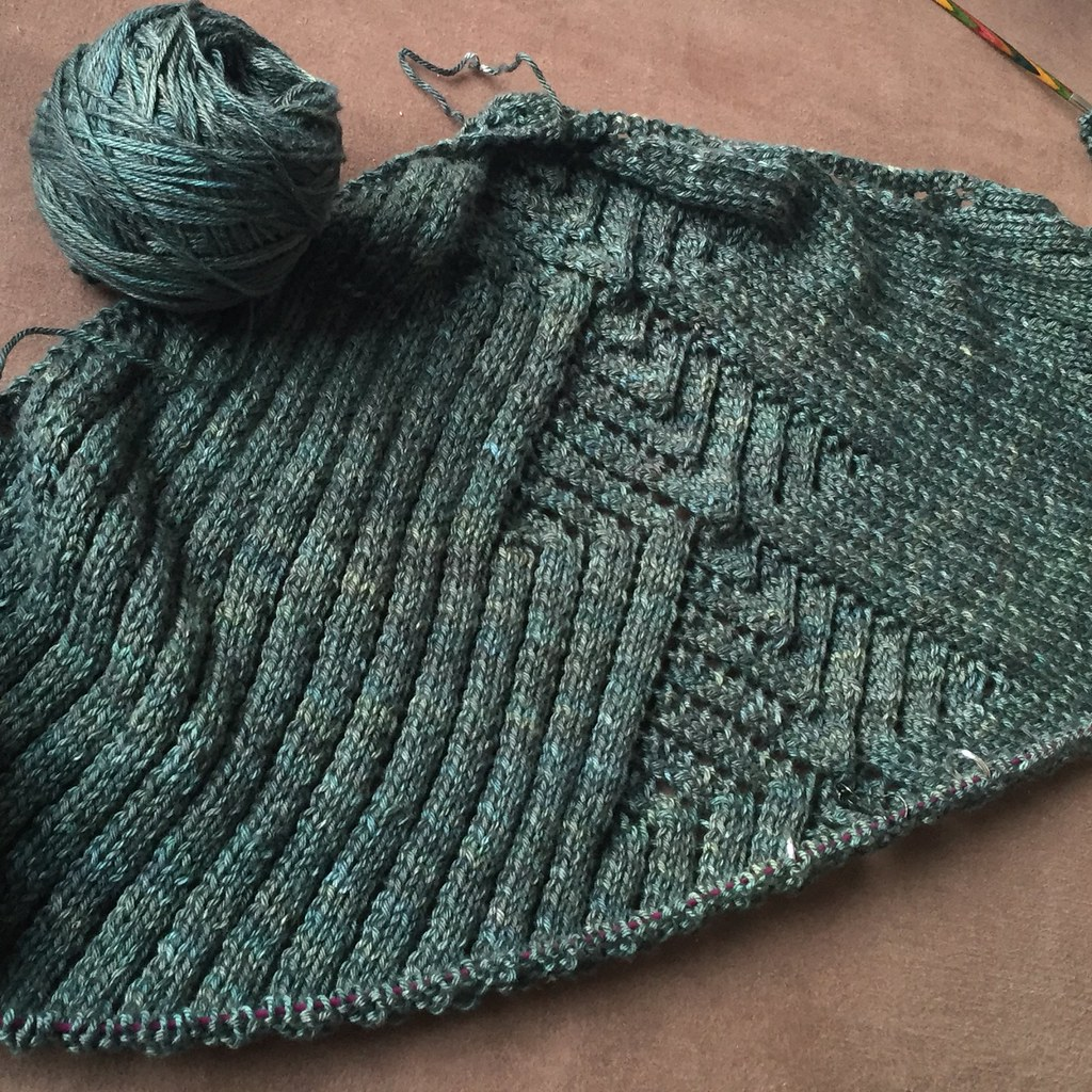 deco city shawl by amy van de laar knit in dark green 'gingko' skein merino silk sport