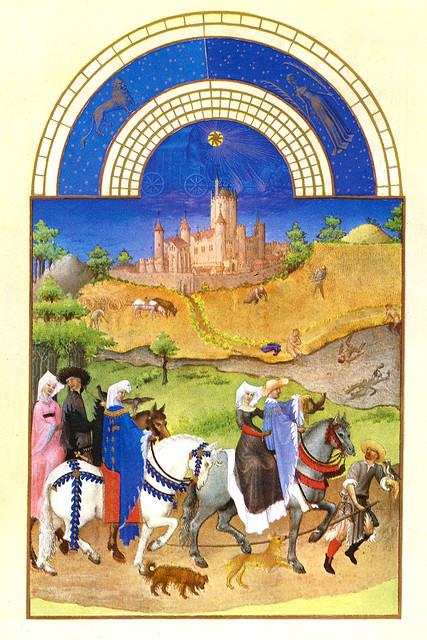 Kalenderblatt Monat August - Stundenbuch des Herzogs von Berry - Les Très Riches Heures du Duc de Berry - Spätmittelalterliche Buchmalerei