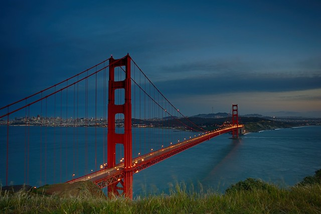 Evening Lights on Golden Gate Bridge