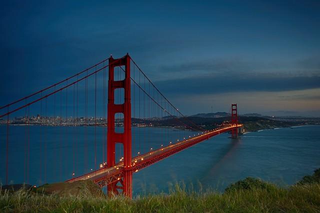 Evening Lights on Golden Gate Bridge