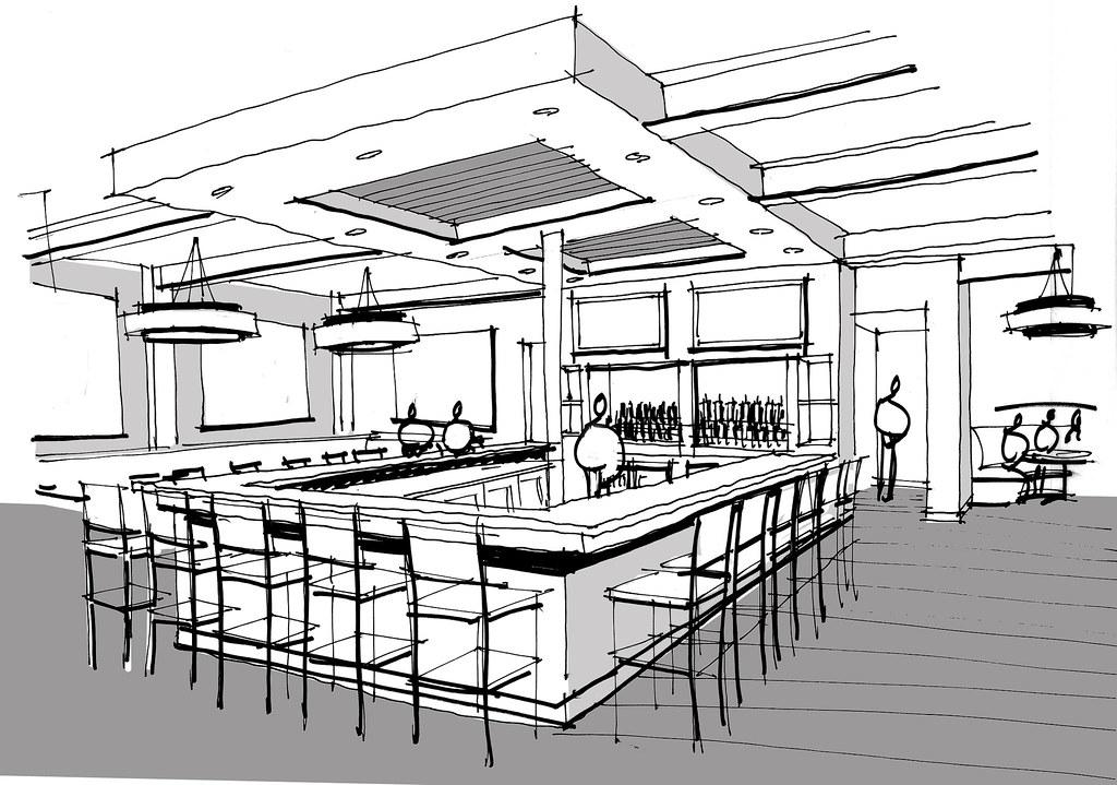 Restaurant interior design drawing