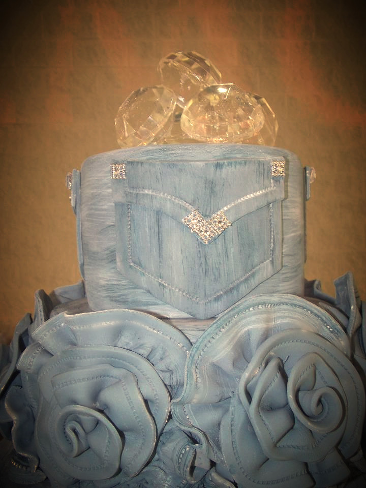 Top View Of Denim And Diamonds Cake Faux Finished Denim