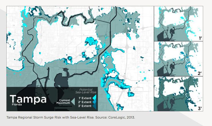 Florida Sea Level Rise Map.Tampa Storm Surge Sea Level Rise Map These Maps Represent Flickr