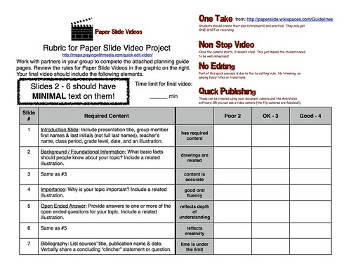 Paper-Slide Video Rubric and Planning Guide 1 of 3 | by Wesley Fryer