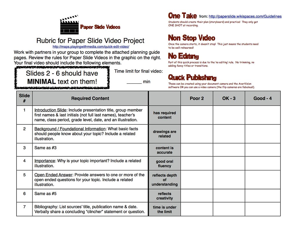 Paper-Slide Video Rubric and Planning Guide 1 of 3 | Flickr