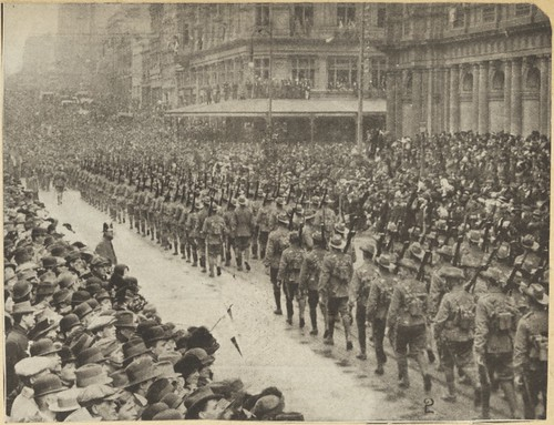 Australian Imperial Force's 2nd Infantry Brigade marching through Bourke Street, Melbourne, Friday, 25th September 1914. | by National Library of Australia Commons