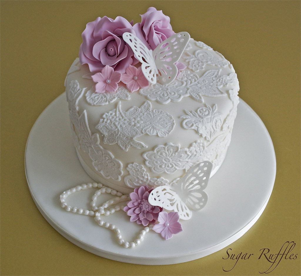 Vintage Cake Decoration Ideas : Vintage Lace Cake Vintage style birthday cake with lace ...