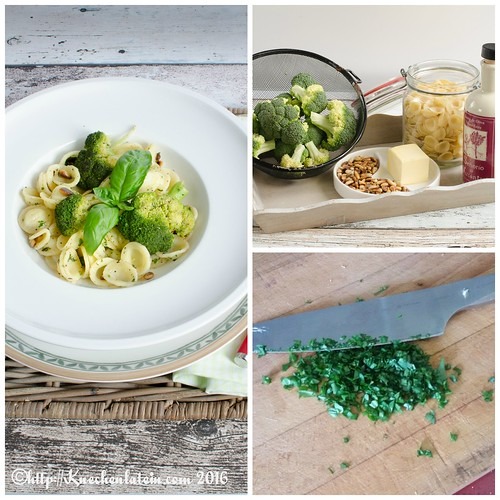 Orecchiette with Brown Butter, Broccoli, Pine Nuts & Basil Collage