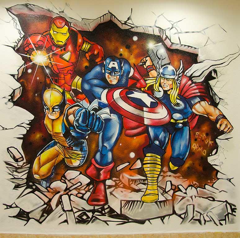 Mural superh roes marvel c mics graffiti mural en pared for Murales de pared