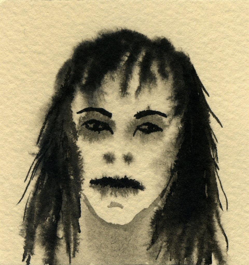 woman with stringy hair india ink on paper 2 3 4 x 2 7 16 flickr