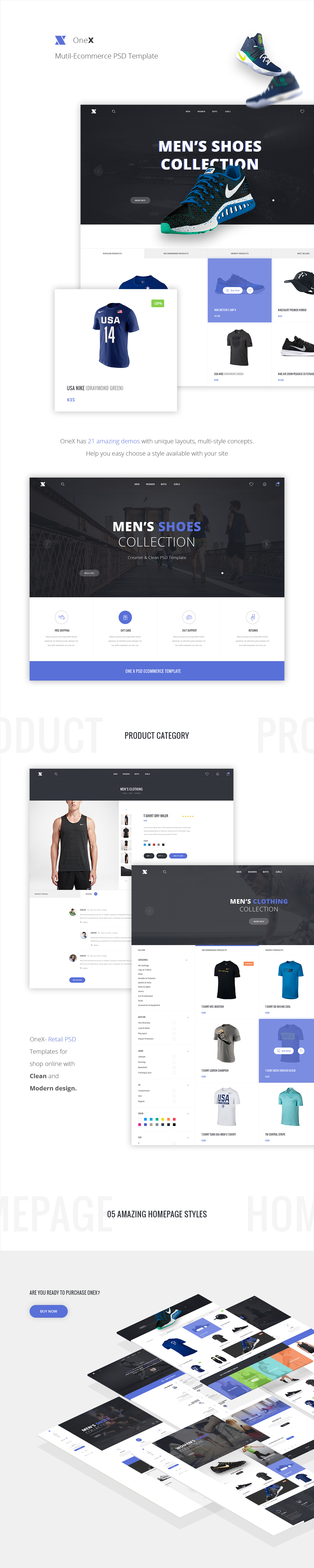 OneX Ecommerce PSD Template