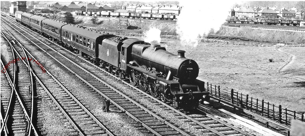 ... Jubilee 4-6-0 N0.45586 Mysore starts a local stopping train away