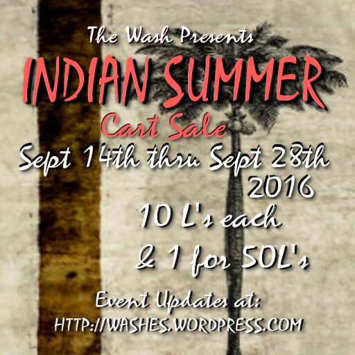 Indian Summer Wash Sale Sept 2016 Poster