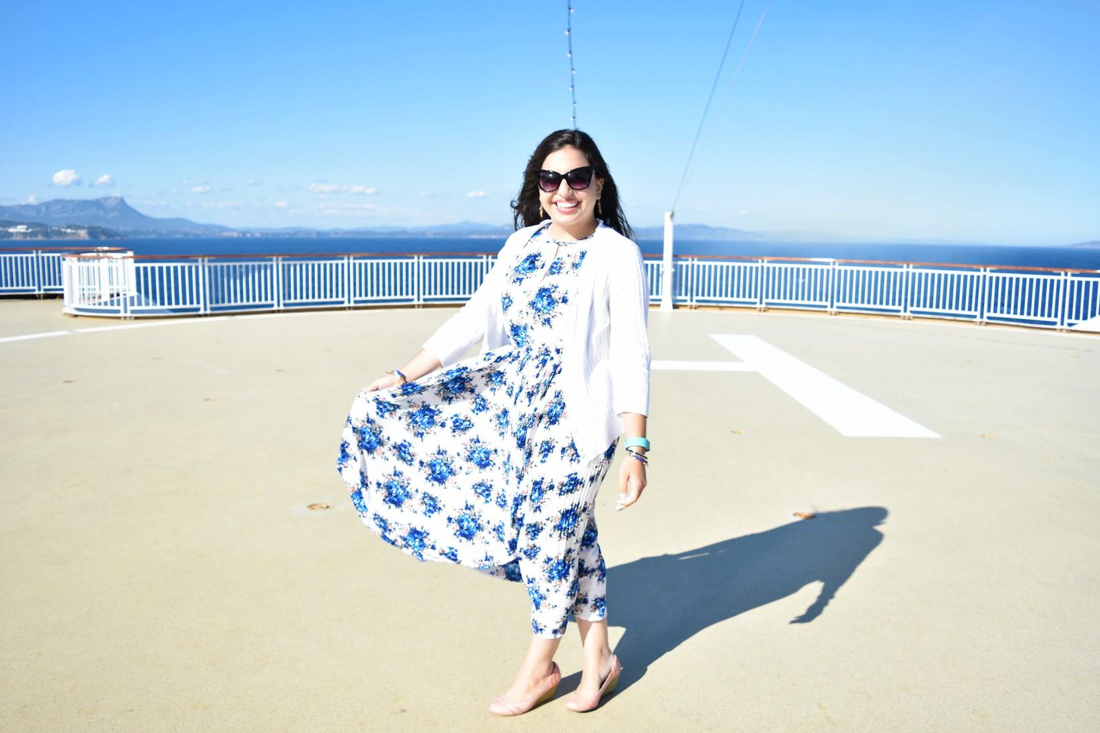 Maison Jules Sleeveless Printed Midi Dress // france mediterranean cruise outfit