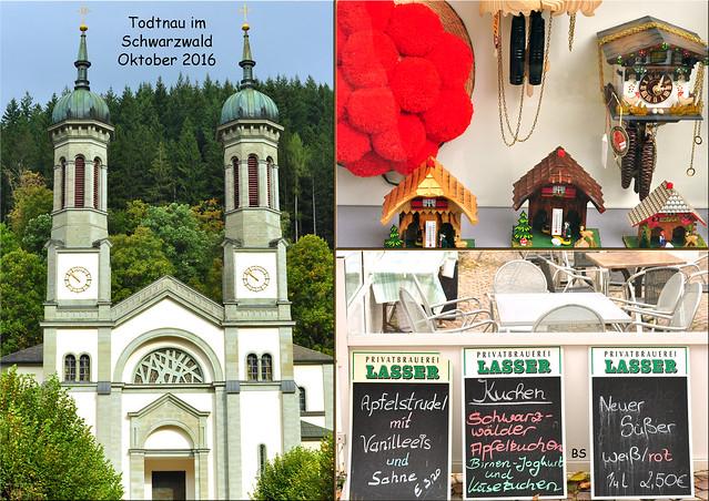 Kleine Schwarzwald-Tour, Oktober 2016 ... Todtnau zu Füßen des Feldbergs. Kirche St. Johannes der Täufer, Kuckuckuhren, Bollenhüte und Schwarzwälder Kirschtorte ... Fotos: Brigitte Stolle
