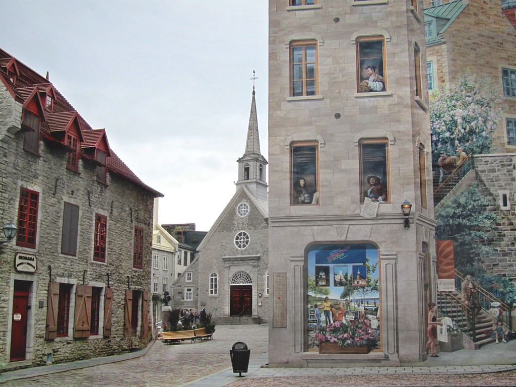 Old quebec old quebec city part of the wall mural from for Mural quebec city