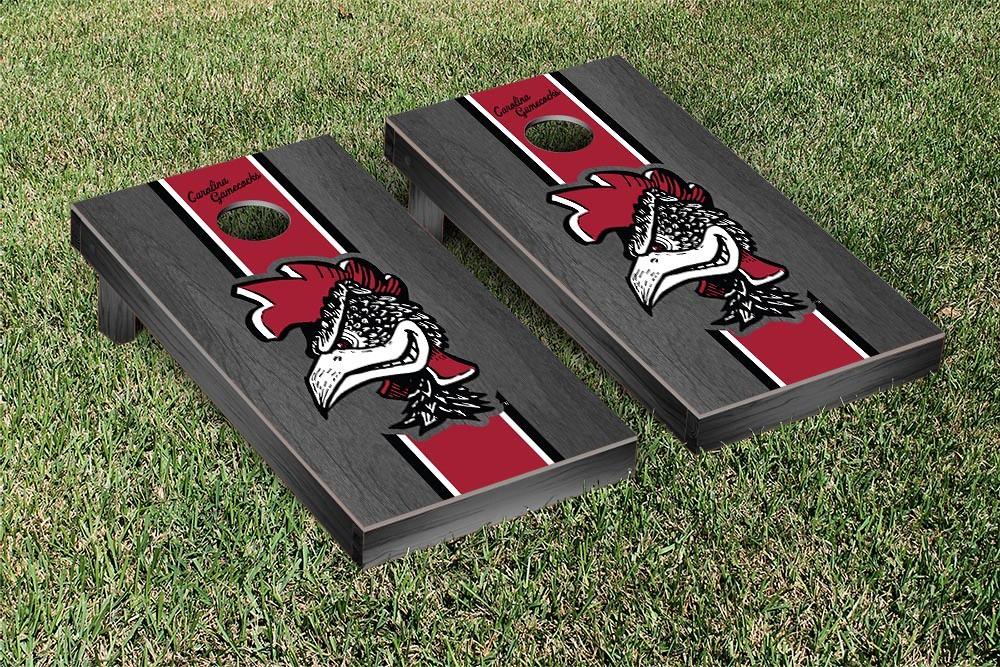 South Carolina College Vault Gamecocks Cornhole Game Onyx Stained Stripe Version