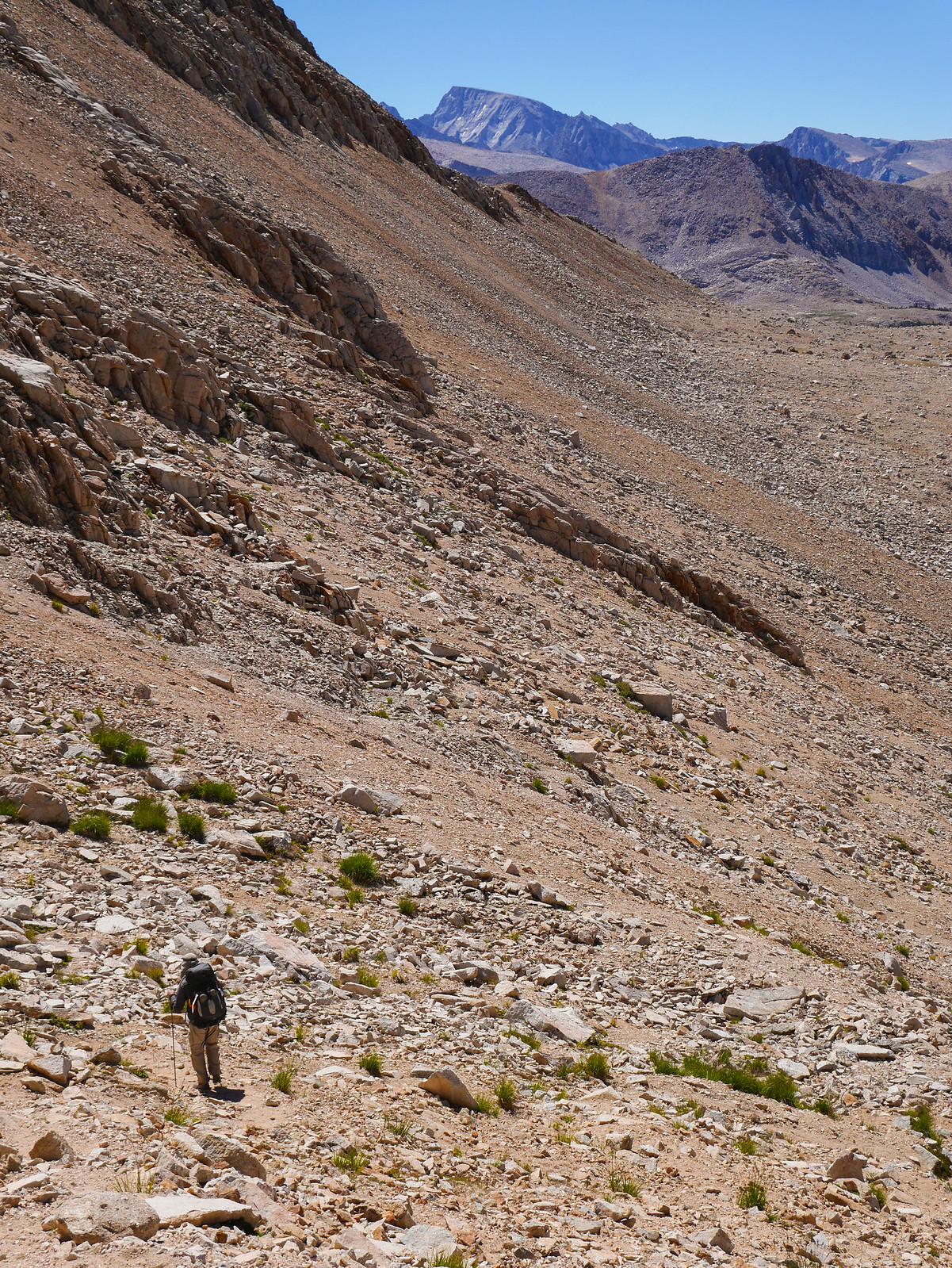Jason descends with Mt Whitney in the background.