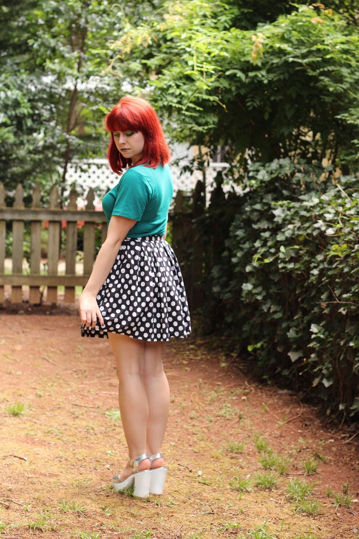 90s Style Silver Platform Heels, Polka Dot Skirt, Teal T-shirt