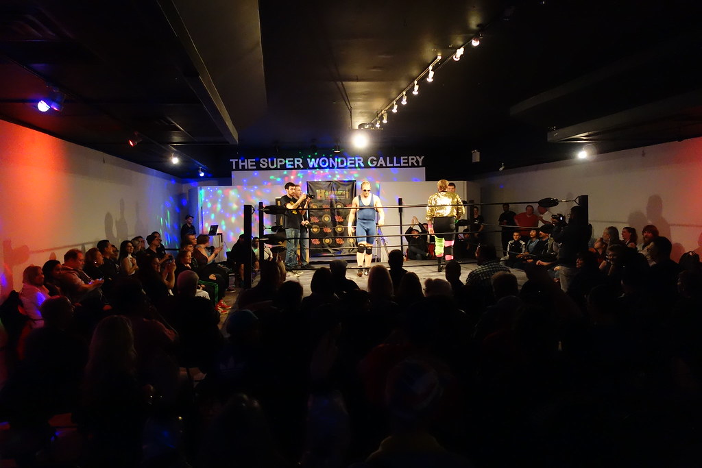wide angle of the wrestling ring at Super Wonder Gallery