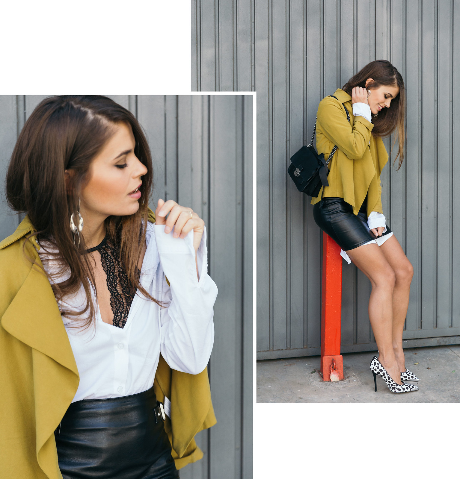 Jessie Chanes Seams for a desire - The Amity Company Oversized White Shirt Faux Leather Skirt Short Parka -7