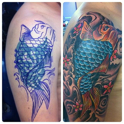 Cover up tattoo fish koi!!! #tattoo #ta2 #tattookoi #tatua ...