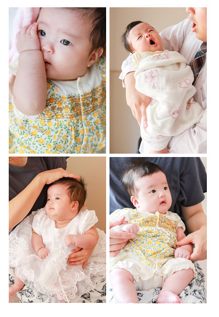 お宮参り写真 100日参り 愛知県長久手市 双子の赤ちゃん 家族写真 ベビーフォト 着物 ファミリーフォト データ納品 自然な