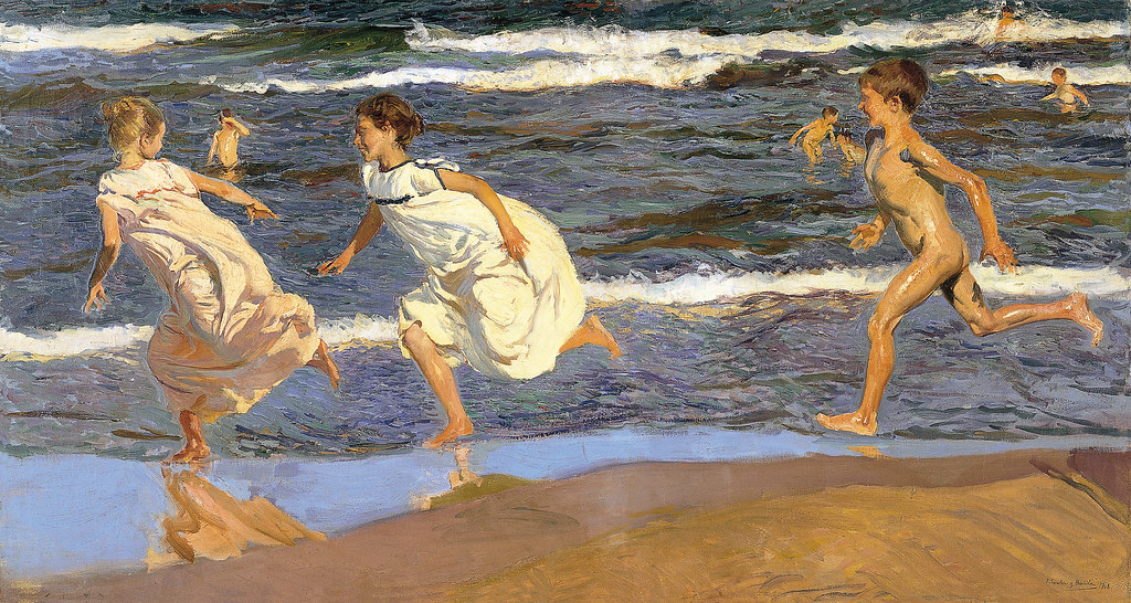 Joaquin sorolla y bastida running along the beach 1908 - Galeria de arte sorolla ...