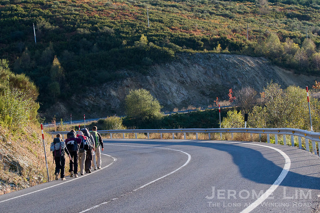 Pilgrims on the long road to Santiago de Compostela. A well used route is the Camino Frances, which involves a 780 km walking journey from the south of France.